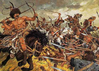 batalla-de-chalons-hunos-atacando-con-lazos-a-visigodos